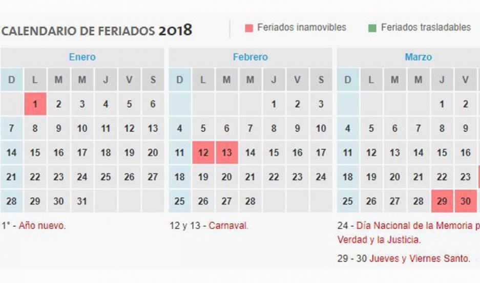 Calendario 2018.