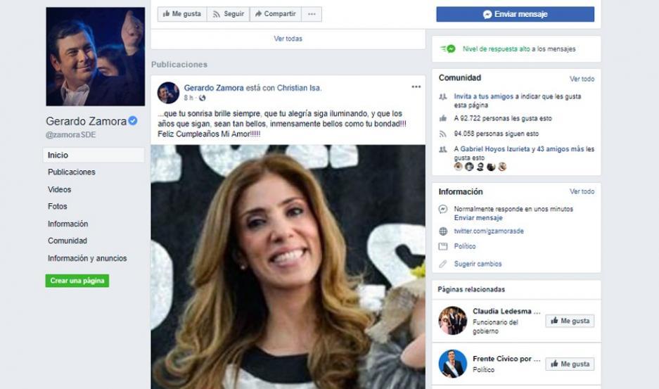El especial saludo del Gobernador Zamora a su esposa por su cumpleaños