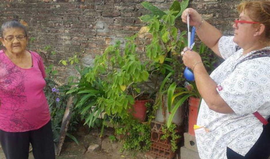 TRABAJOS. Los operarios realizan la toma de muestra de larvas y la identificación de recipientes que podrían ser criaderos.
