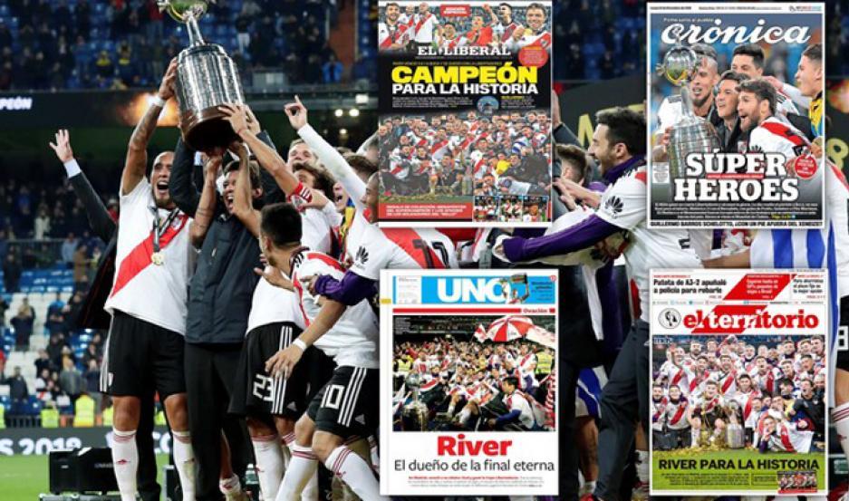 El portal deportivo Olé destacó la tapa de EL LIBERAL, entre los principales medios gráficos de la Nación que reflejaron la victoria de River Plate.