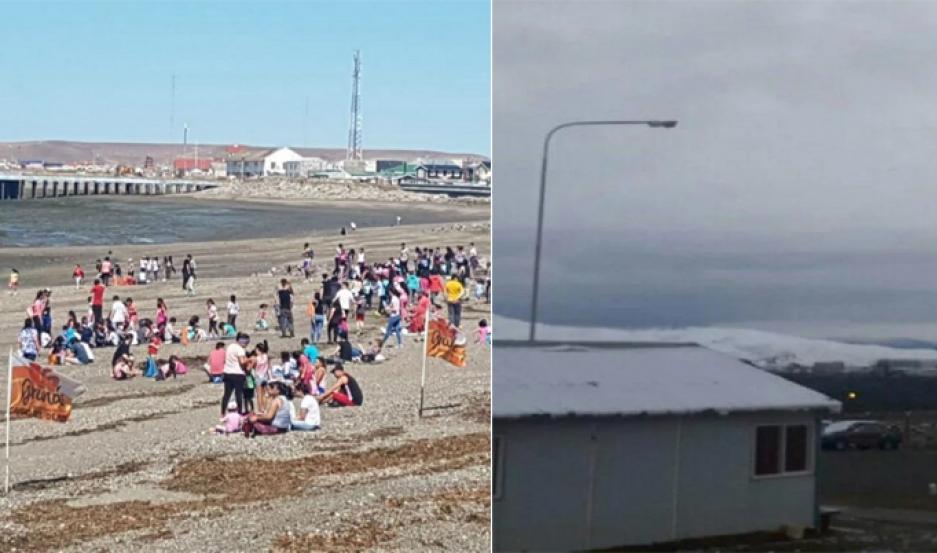 Playa de Tierra del Fuego (izquierda);  Mina Pirquitas, en Jujuy (derecha).