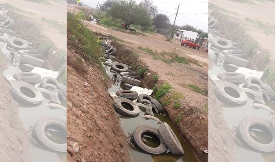 El municipio de Añatuya detectó obstrucción en desagües con neumáticos