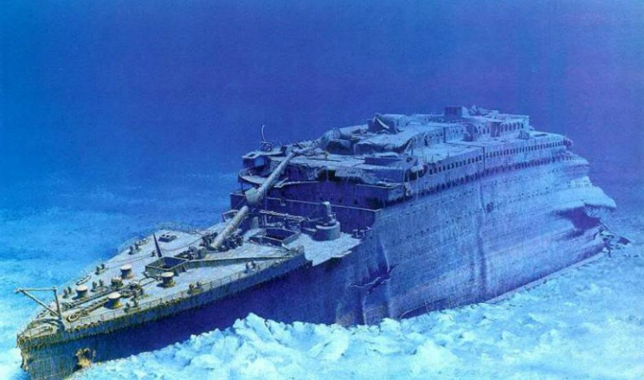 Imagen del Titanic hundido.