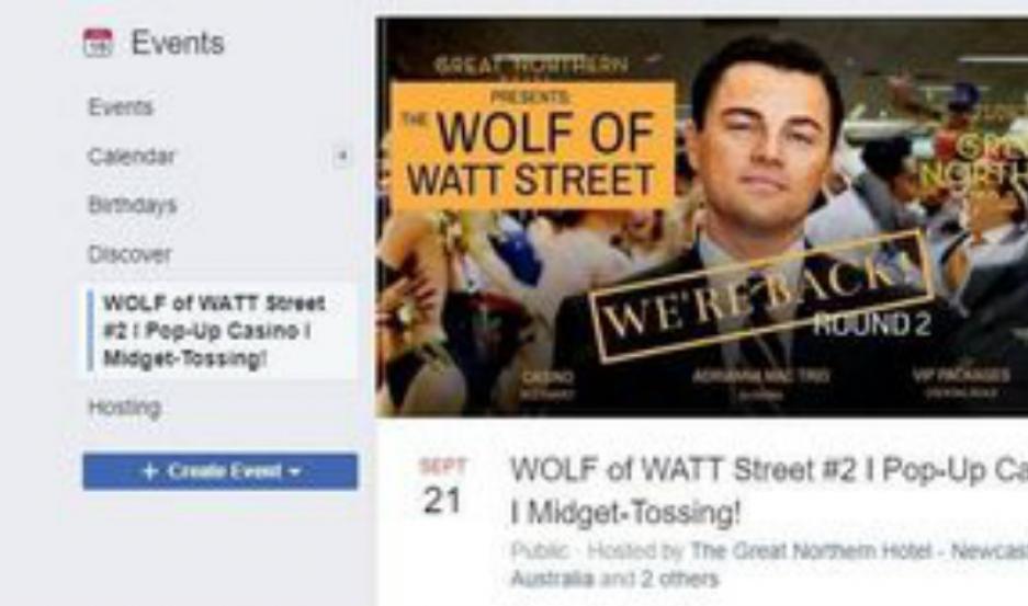 El evento publicado en Facebook.