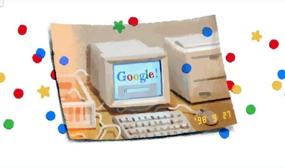 Google festejó su cumpleaños con la imagen de una computadora antigua, pero con el buscador abierto.