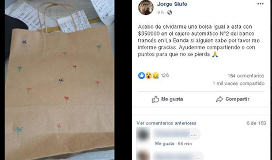 En su perfil de la red social Facebook, el comerciante pidió colaboración. El fiscal Pablo Moya ordenó una serie de medidas.