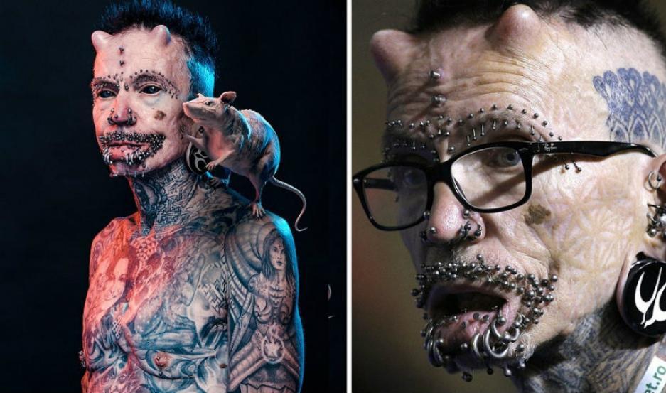 Rolf Buchholz, de 60 años de edad, con cientos de perforaciones y tatuajes.