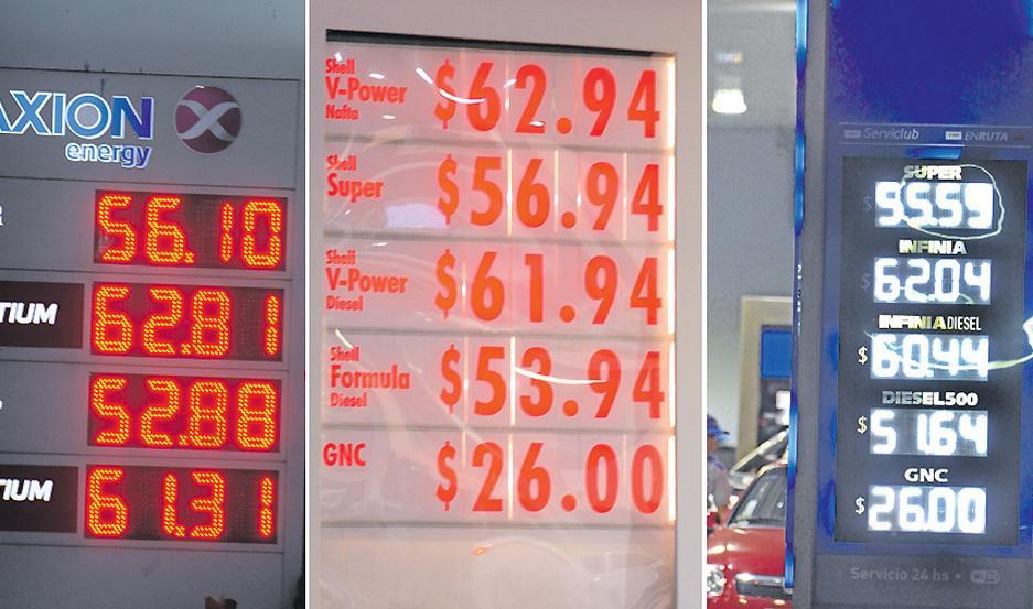 CARTELES Los nuevos precios vigentes para los combustibles, por marca, desde este jueves.