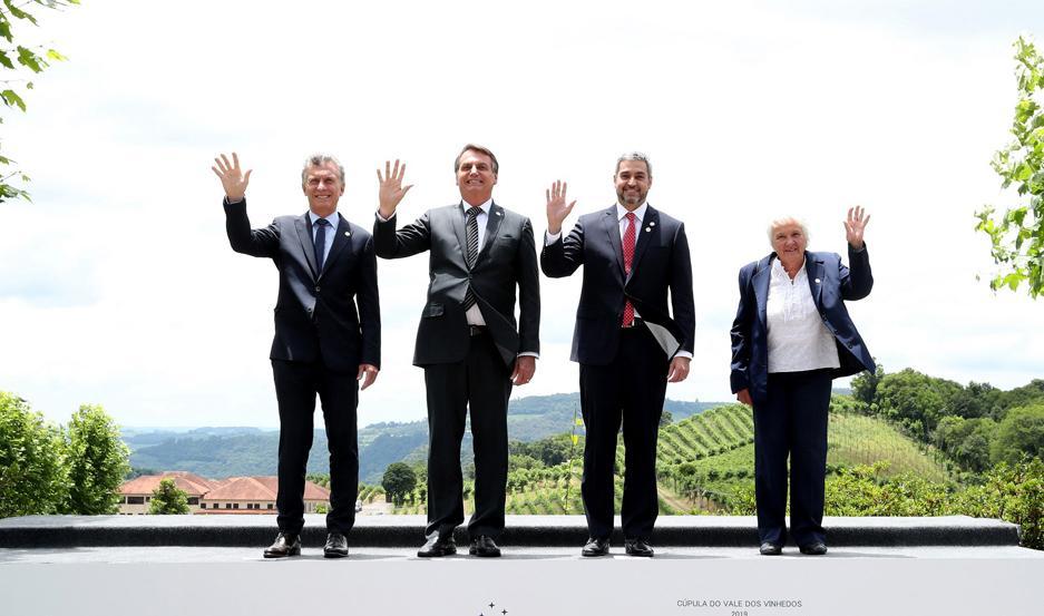 ALIADOS. Macri y Bolsonaro coincidieron en el reclamo de una mayor apertura del bloque.