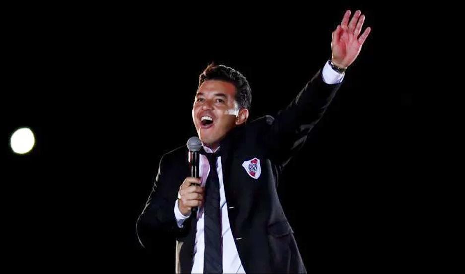 """El técnico millonario expresó """"gracias por esa alegría de ganarle a Boca y de salir campeón"""