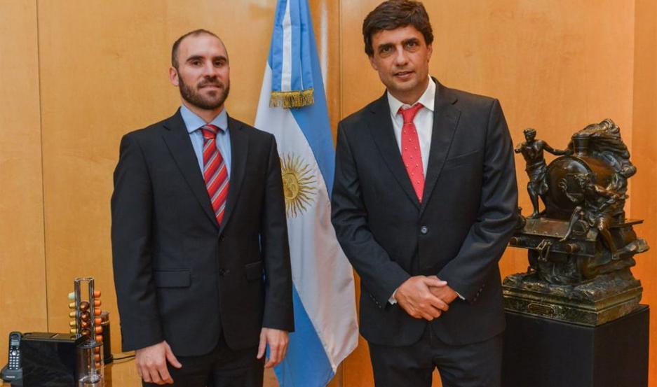 Martín Guzmán y Hernán Lacunza se encontraron en la sede del Ministerio.