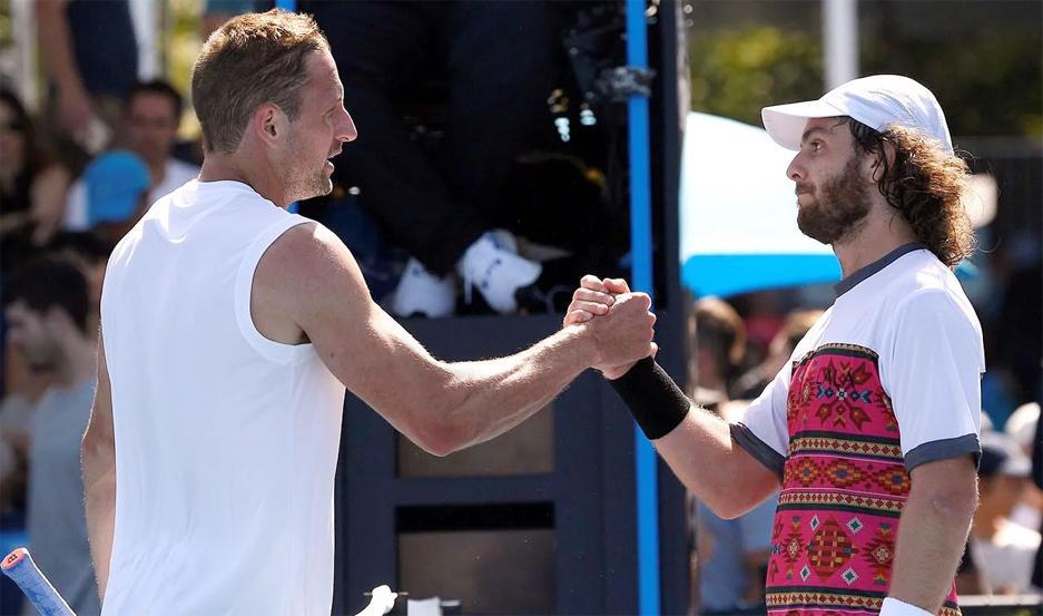 Marco Trungelliti y el norteamericano Tennys Sandgren se saludaron al finalizar el partido.