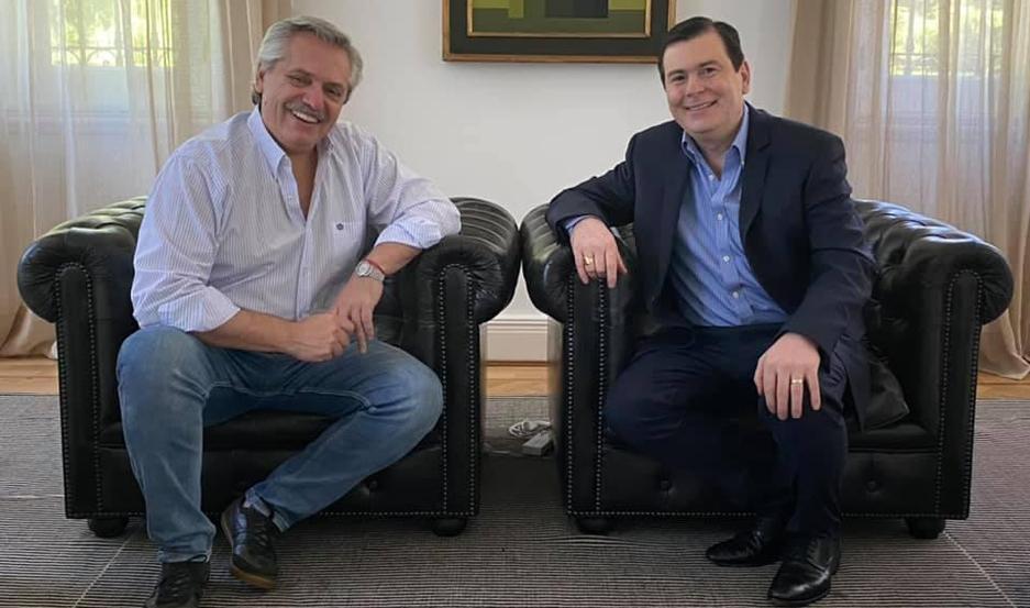 """ENCUENTRO. """"Una inmensa alegría reunirme con nuestro Presidente de la Nación"""", expresó Zamora en las redes."""