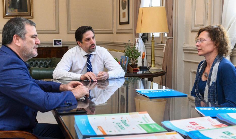 El ministro Trotta se reunió con la representante en Argentina de Unicef, Luisa Brumana.