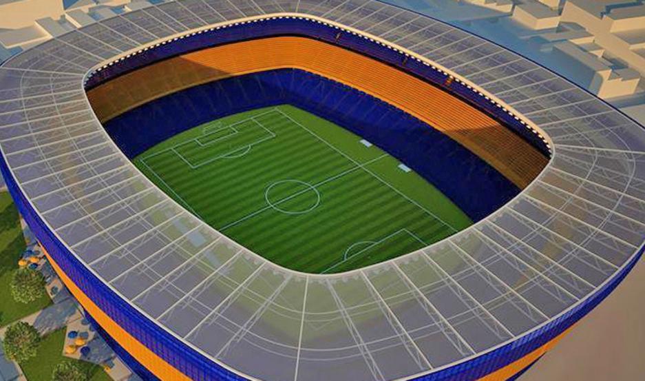 DISEÑO. Maqueta del proyecto Bombonera 360, que consiste en completar el anillo con plateas en el lugar donde hoy están los palcos.