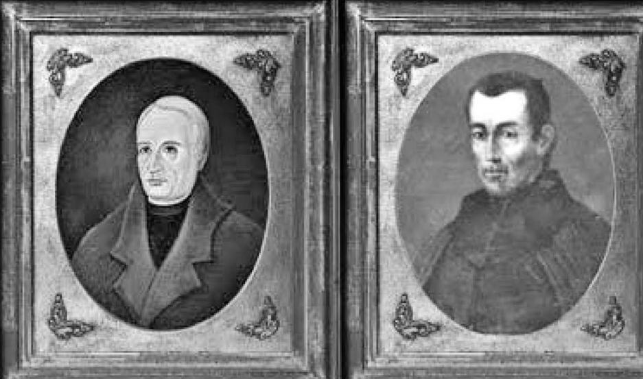Retrato de los santiagueños Díaz Gallo y Uriarte en la Casa de la Independencia.