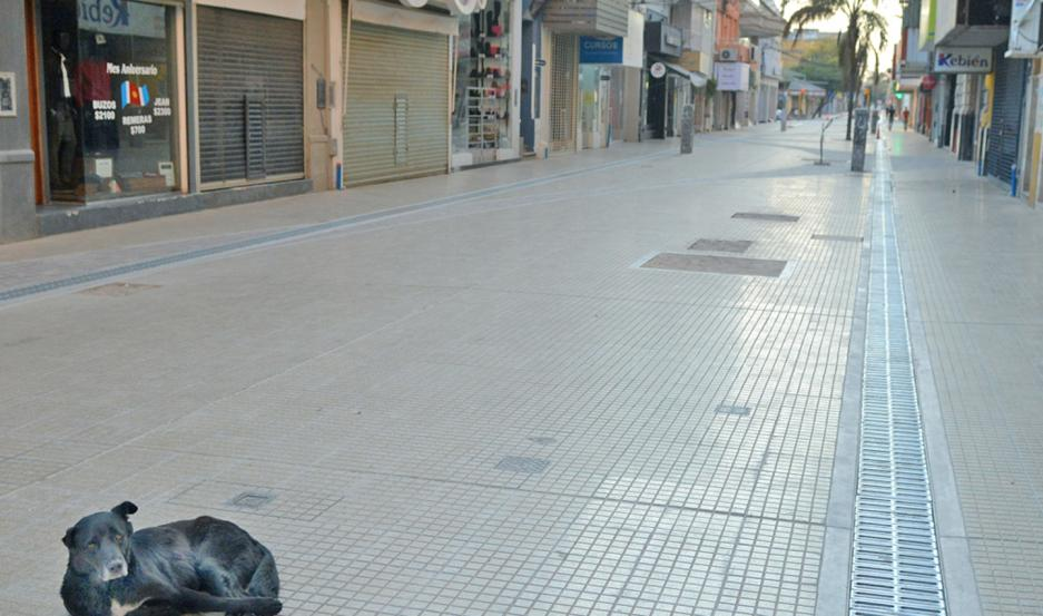 RESTRICCIÓN. Las peatonales lucieron desiertas después de las 18, debido a la limitación de la circulación.